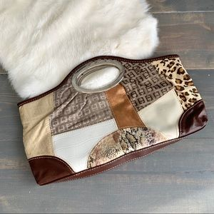 Multicolored Multitextured Paneled Clutch